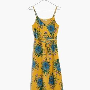 Madewell Yellow Silk Wrap Dress Painted Blooms Med